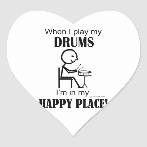 Drums Happy Place Heart Stickers