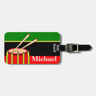 Drums on Luggage Tag w/ leather strap