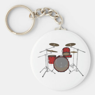 Drums: Red Drum Kit: 3D Model: Basic Round Button Keychain