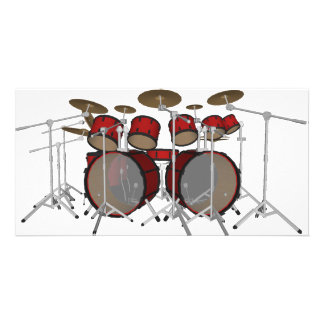 Drums: Red Drum Kit: 3D Model: Customized Photo Card