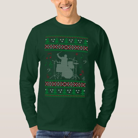 Drums Ugly Christmas T-Shirt