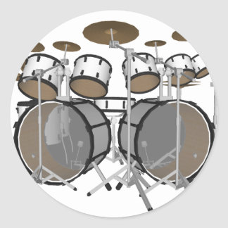Drums: White Drum Kit: 3D Model: Classic Round Sticker