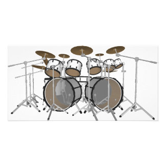 Drums: White Drum Kit: 3D Model: Photo Card Template