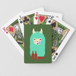 Drunk Emoji Llama Bicycle Playing Cards