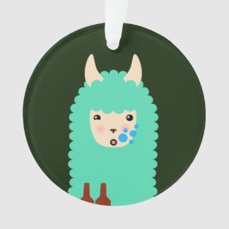 Drunk Emoji Llama Ornament