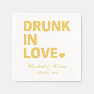 """Drunk in love"" Personalized Golden Wedding Paper Napkins"
