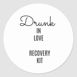 Drunk in Love Recovery Kit, Drinking Label, Favour Classic Round Sticker