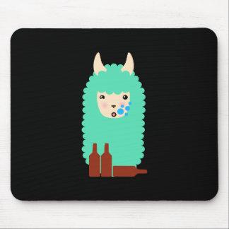 Drunk Llama Emoji Mouse Pad