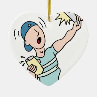 Drunk man taking a selfie ceramic heart ornament