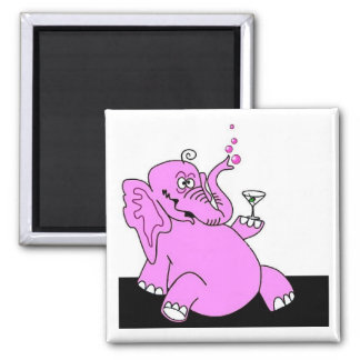 """Drunk Pink Elephant"" Fridge Magnet SQUARE"