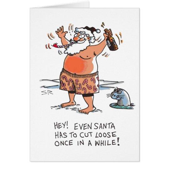 Drunk Santa cartoon Christmas card