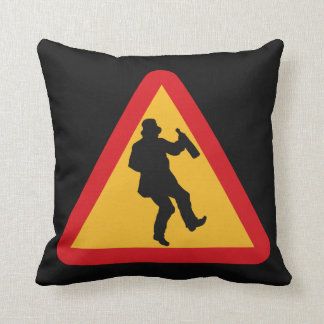 Drunk Warning custom throw pillow