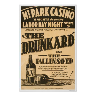 Drunkard Comedy Barnum 1938 WPA Poster