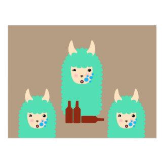 Drunken Emoji Llama (beer) Postcard