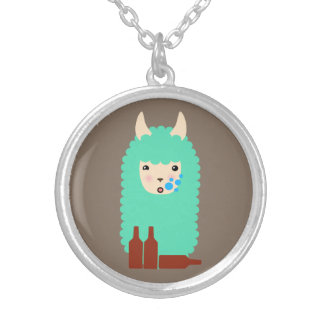Drunken Emoji Llama (beer) Silver Plated Necklace