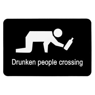 Drunken people crossing ⚠ Thai Sign ⚠ Rectangle Magnets