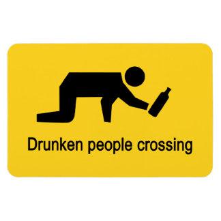 Drunken people crossing ⚠ Thai Sign ⚠ Rectangular Photo Magnet