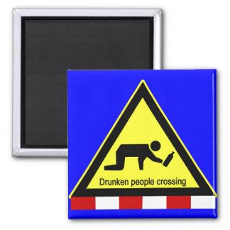 Drunken people crossing ⚠ Thai Sign ⚠ Square Magnet
