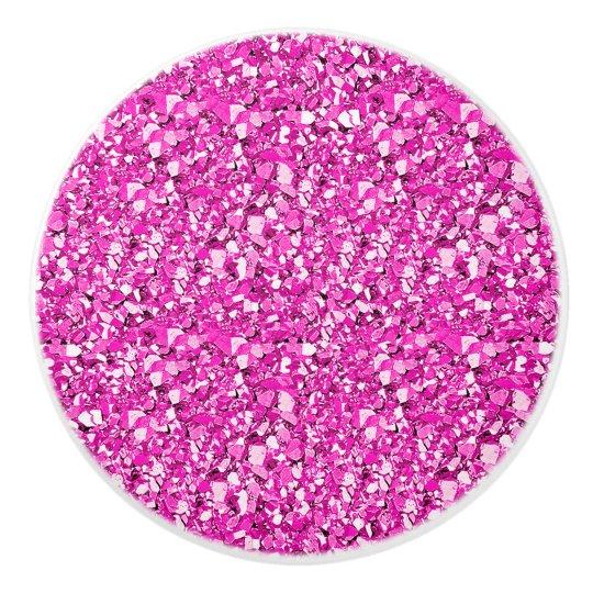 Druzy crystal - fuchsia pink ceramic knob