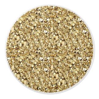 Druzy crystal - metallic gold ceramic knob
