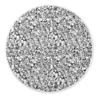 Druzy crystal - silver color ceramic knob