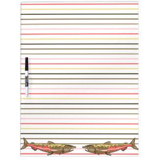 Dry-Erase Board - Chinook Salmon on Stripes