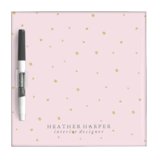 Dry Erase Board - Gold Dots Pink