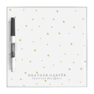 Dry Erase Board - Gold Dots White