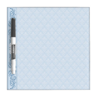 Dry-Erase Board - Icy Blue Damask