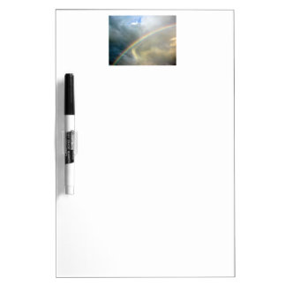 dry erase board with photo of pretty rainbow