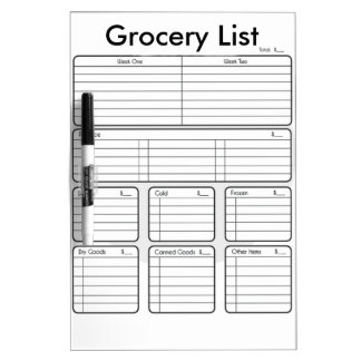 Dry-Erase Grocery List Dry Erase Boards