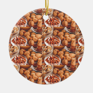 DRY FRUITS daily diet health cuisine experts chefs Round Ceramic Ornament