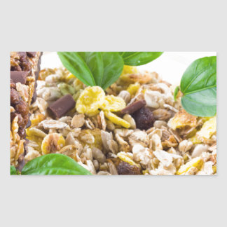 Dry mix of muesli and cereal in a bowl of glass