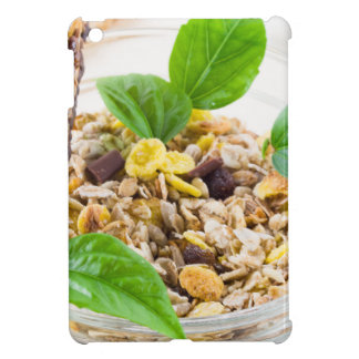 Dry mix of muesli and cereal in a bowl of glass iPad mini cases