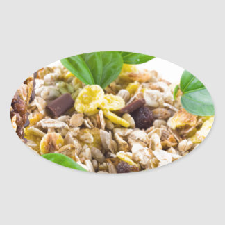 Dry mix of muesli and cereal in a bowl of glass oval sticker