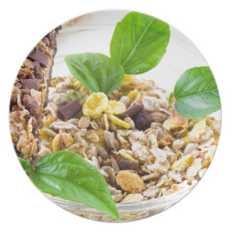Dry mix of muesli and cereal in a bowl of glass plate