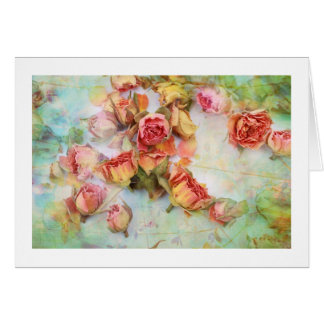 Dry roses on green vintage card