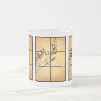 Dry Weeds on Rice Paper Frosted Glass Coffee Mug
