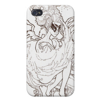 Dryad Fairy in Tree Iphone Case, Sepia line art Cases For iPhone 4