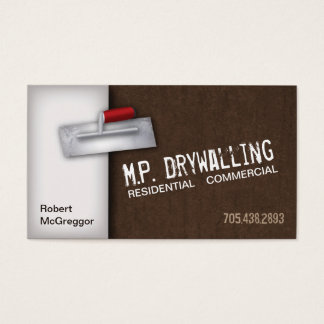 Drywalling Business Card - Trowel & Brown Texture