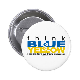 DS Think Blue and Yellow 2 Inch Round Button