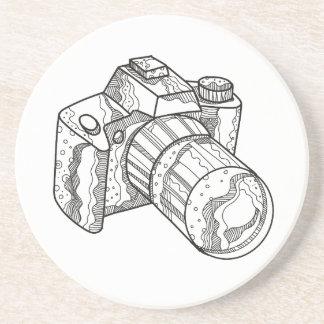 DSLR Camera Doodle Art Coaster