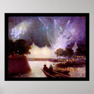 Du Puigaudeau: Fireworks over the Port Poster