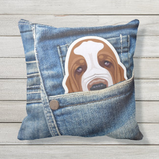 Dual Basset Hound design Throw Pillow