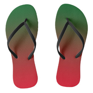 Dual colored(Red&Green) Slim Straps Flip Flops