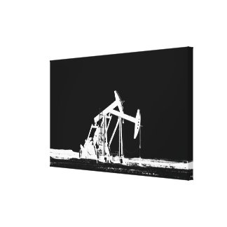 Dual Oil Pumping Unit Silhouette Canvas Print