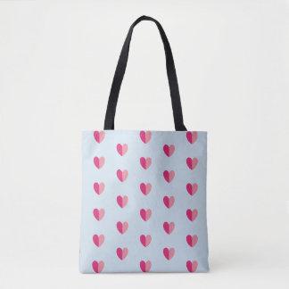 Dual Shade Pink Hearts Valentines Tote Bag