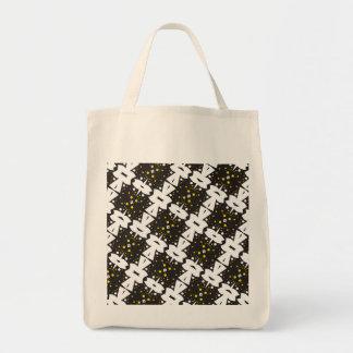 Dual Tone Lattice Pattern Grocery Tote Bag