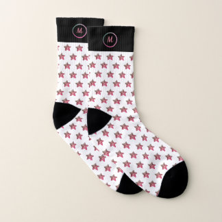Dual Tone Monogram Starfish Pattern white Socks