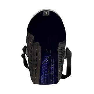 Dubai architecture at night messenger bags